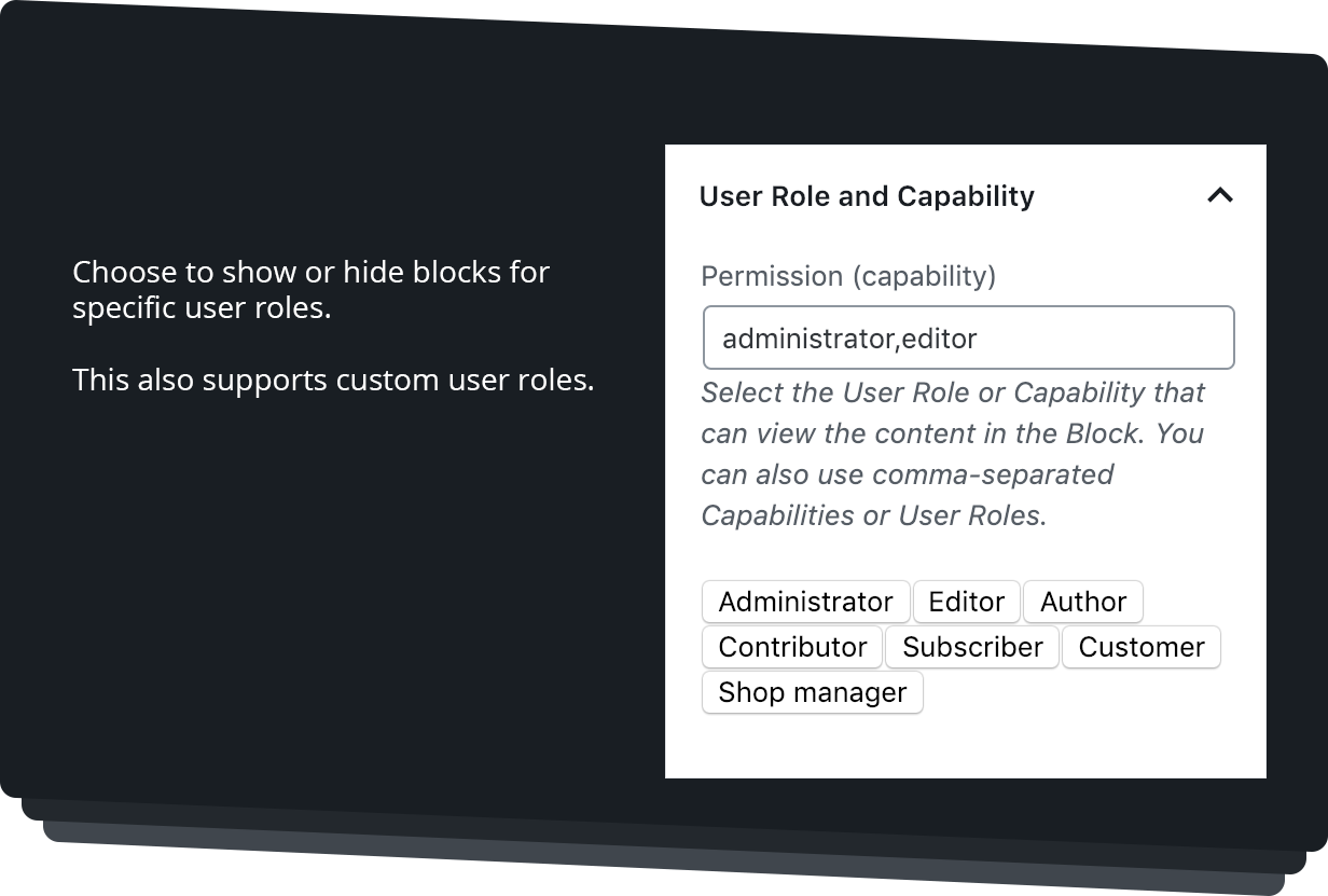 User Role and Capabilities Settings