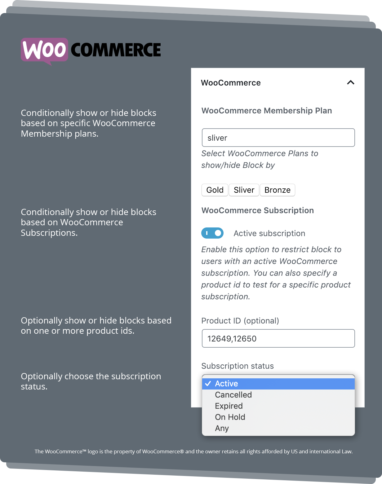 WooCommerce Block Settings